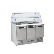 Стол холодильный саладетта 3-дверный с надставкой стеклянной HENDI 236192