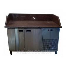Стол холодильный с гранитной столешницей 2х дверный с 3мя бортами Tehma