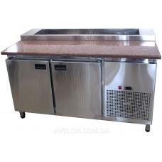Стол холодильный для пиццы с гранитной столешницей 2х дверный с крышкой Tehma