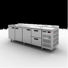 Стол холодильный Modern-Expo NRADBB с бортом, 3 двери, 2 ящика