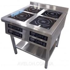 Плита индукционная 4-х конфорочная 2,8 кВт напольная Tehma 800*800*850