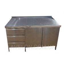 Стол производственный с полуобъемным бортом распашными дверями 2шт, с 3мя ящиками 1600*700*850