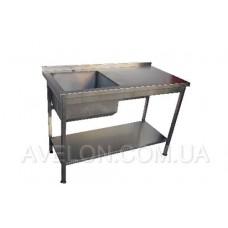 Стол-мойка с полуобъёмным бортом. 1200*600*850 ванна слева