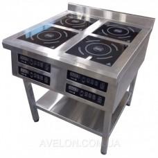 Плита индукционная TEHMA 4-х конфорочная 3,5 кВт напольная 800х800х850