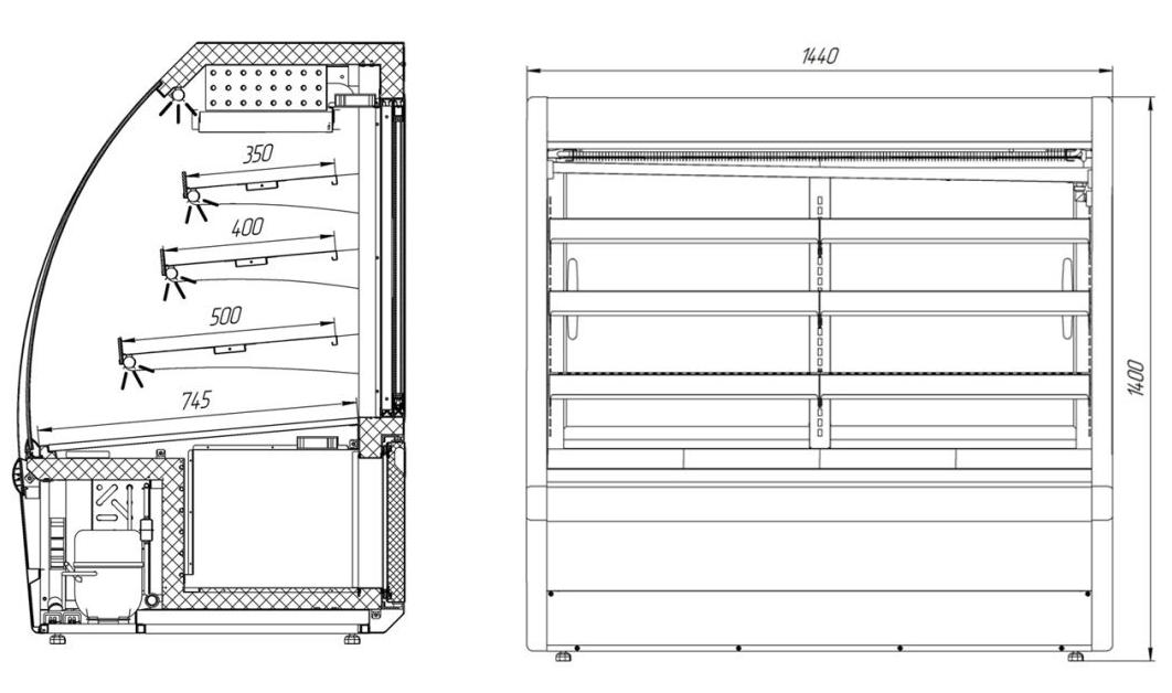 Холодильная витрина VDG144, технические характеристики, цена, описание,