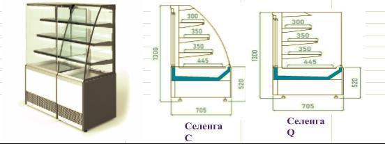Модельный ряд кондитерских витрин СЕЛЕНГА Гольфстрим